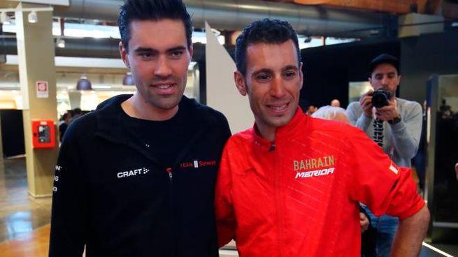 Bologna, Tom Dumoulin e Vincenzo Nibali (LaPresse)
