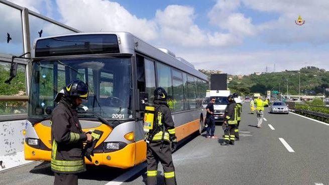 L'intervento sull'autobus