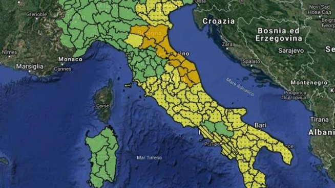 Allerta meteo, la mappa della Protezione civile (Twitter)