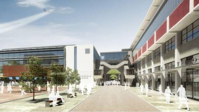 Una ricostruzione di come sarà il Centro Meteo europeo che sorgerà a Bologna