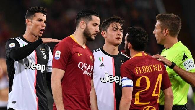 Roma-Juventus, Ronaldo e Florenzi (Lapresse)
