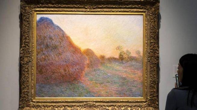 """Dipinto di Claude Monet della serie """"I covoni"""" venduto all'asta da Sotheby's (Ansa)"""
