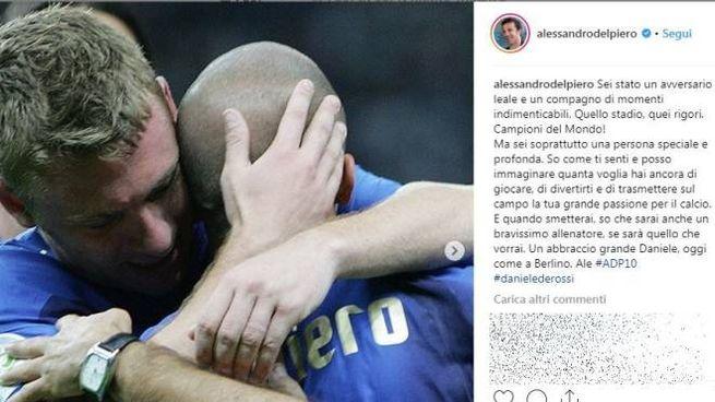 Il post di Del Piero dedicato a De Rossi su Instagram