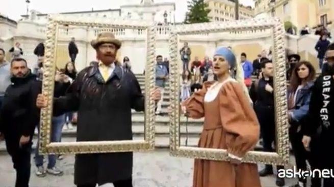 Biagio Antonacci e Laura Pausini in Piazza di Spagna