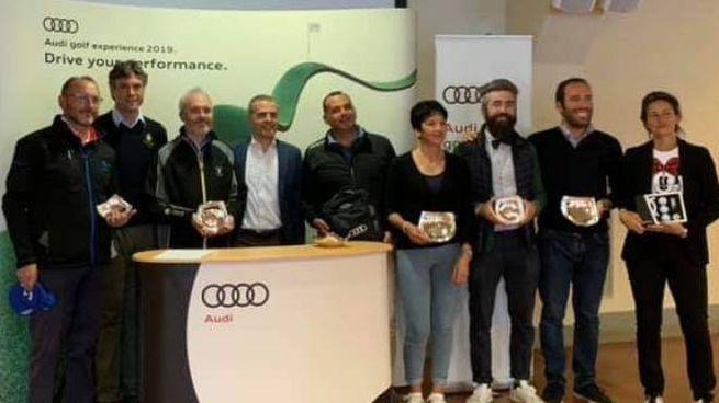 Il gruppo dei premiati alla Audi Golf Experience a Poggio dei Medici