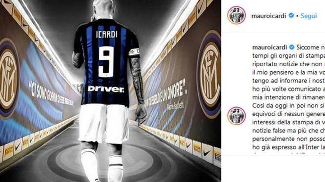 Mauro Icardi conferma la sua volontà di rimanere all'Inter (Ansa)