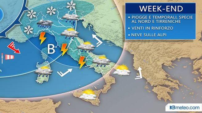 Le previsioni del tempo del weekend, piogge e grandine sull'Italia (3bmeteo)