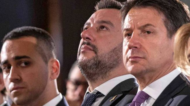 LUIGI DI MAIO POLITICO MATTEO SALVINI POLITICO GIUSEPPE CONTE PRESIDENTE CONSIGLIO