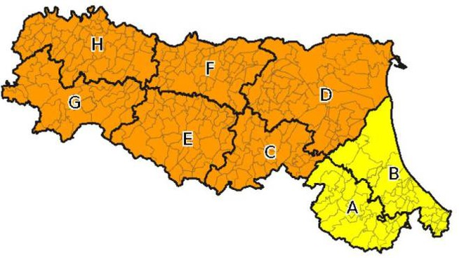 I territori dove vige l'allerta arancione fino a domenica sera
