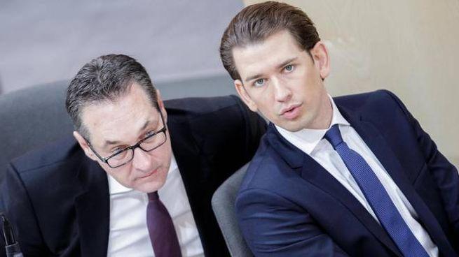 Heinz-Christian Strache e Sebastian Kurz (Ansa)