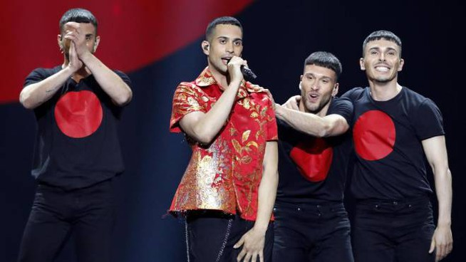 L'esibizione di Mahmood all'Eurovision Song Contest (Ansa)