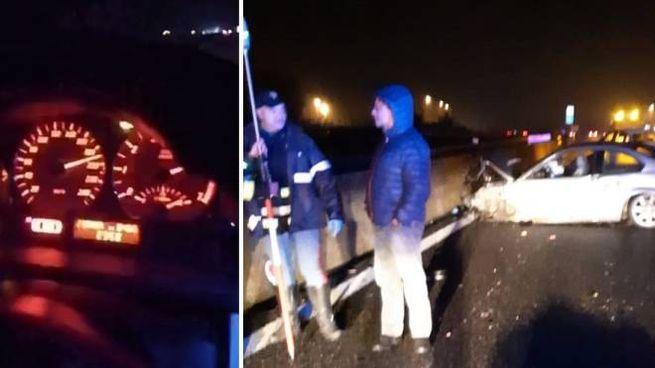 Il cruscotto e l'auto dei due amici dopo lo schianto