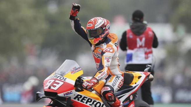 MotoGp Francia 2019, l'esultanza di Marc Marquez (foto Ansa)