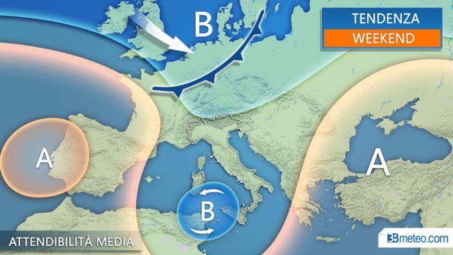 Le previsioni meteo per sabato e domenica, 3bmeteo.com