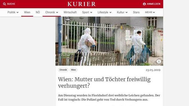 """L'articolo sul sito Kurier. """"Madre e figlie sono morte volontariamente di fame?"""""""