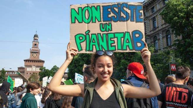 La manifestazione degli studenti per il clima