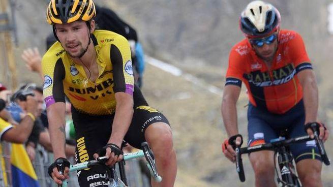 Primoz Roglic e Vincenzo Nibali nella tappa 13 del Giro (LaPresse)