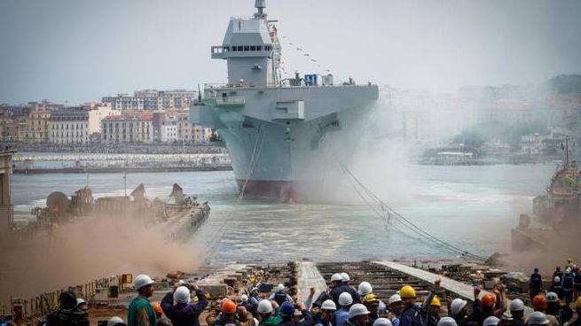 Il varo della nave militare Trieste (Ansa)