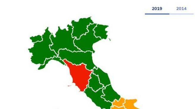 La mappa dell'Italia dopo il voto alle Europee