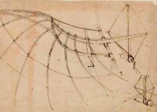 Disegno sullo studio del volo: riproduzione di un'ala meccanica azionata a mano