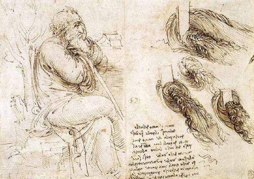 Studio di figura e vortici, Leonardo da Vinci, 1512-13