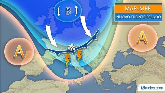 Previsioni del tempo, l'affondo artico di martedì e mercoledì (3bmeteo.com)