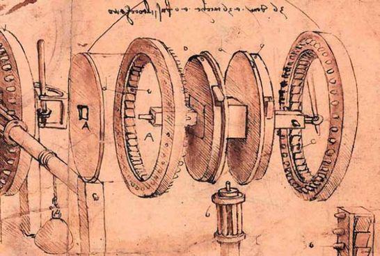 Disegno dell'argano a due ruote scomposto negli elementi costitutivi Biblioteca Ambrosiana