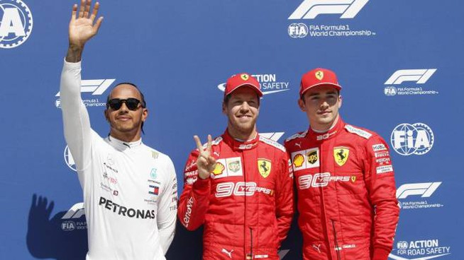 Gp del Canada, pole di Vettel davanti a Hamilton e Leclerc (Ansa)