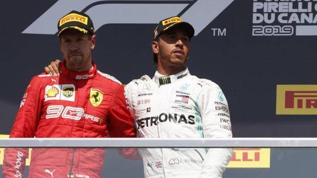 Sebastian Vettel e Lewis Hamilton sul podio in Canada (Ansa)