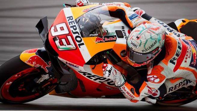 MotoGp, Marc Marquez sul circuito di Montmelò (foto Ansa)
