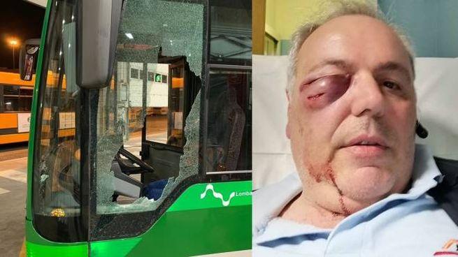 Il bus danneggiato e l'autista aggredito (foto da Facebook)