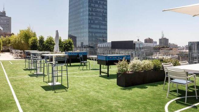 Uno scorcio della terrazza panoramica della nuova sede dell'Inter (Ansa)
