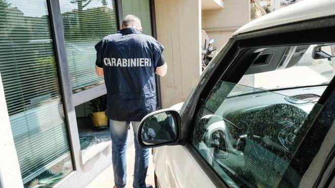 Rapina con spaccata ai danni della filiale MPS di via di Soffiano (New Press Photo)