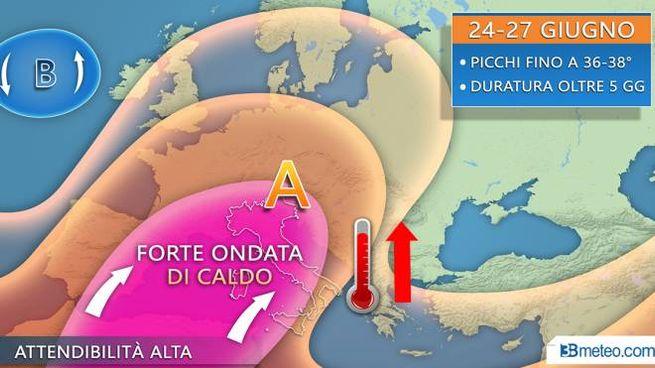 Meteo, la prima ondata di caldo nel weekend secondo la grafica di 3bmeteo