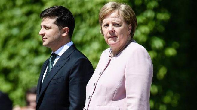Angela Merkel durante la visita del presidente ucraino (ANSA)