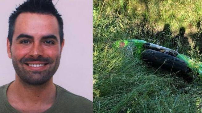Stefano Merighi e la sua moto il giorno dell'incidente