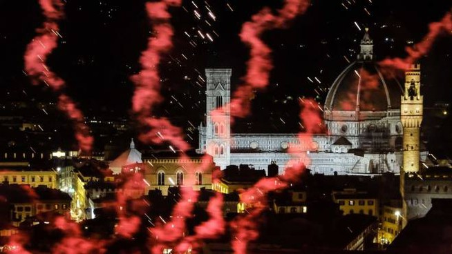 Firenze, i 'fochi' di San Giovanni 2019 (Giuseppe Cabras/New Press Photo)