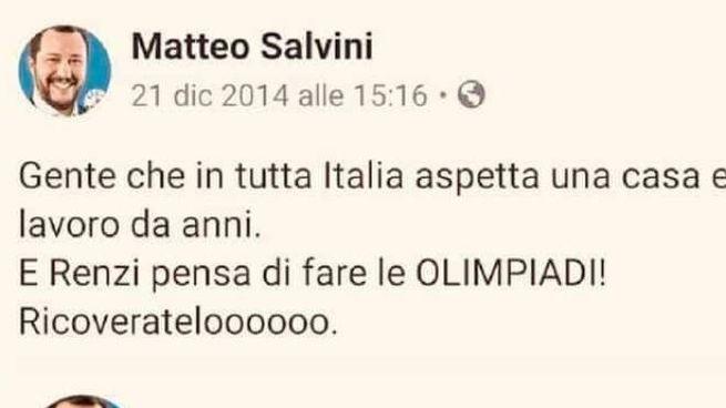 Il tweet di Salvini nel 2014