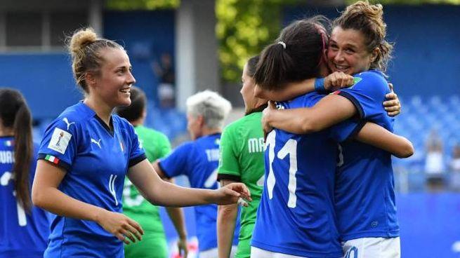 Italia-Cina, l'esultanza delle azzurre (LaPresse)