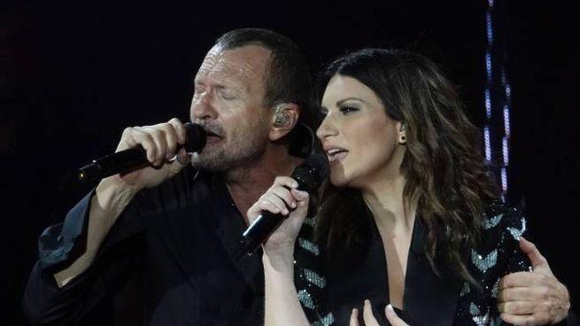 Pausini e Antonacci sul palco di Firenze (Gianluca Moggi / New Press Photo)