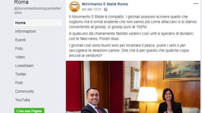 Il post del Movimento 5 Stelle Roma
