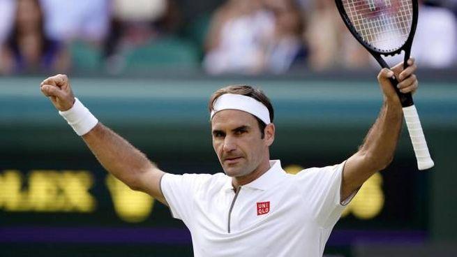 L'esultanza di Roger Federer (Ansa)