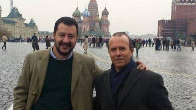 Matteo Salvini e Gianluca Savoini (Ansa)