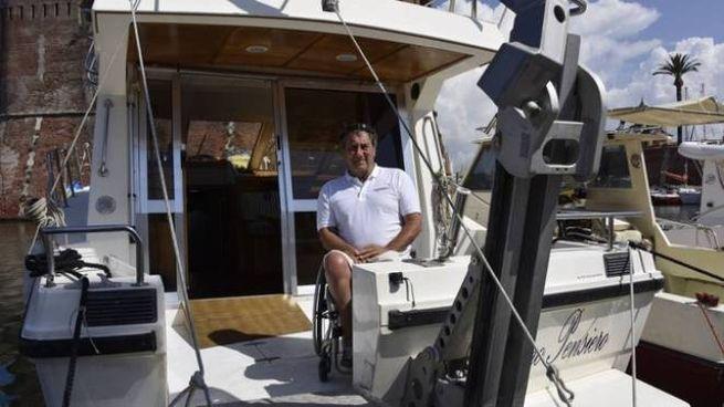 Claudio Rigolo sulla barca Primo Pensiero
