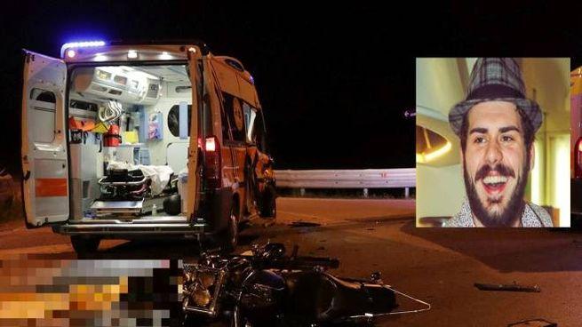 Il luogo dell'incidente e nel riquadro la vittima: Filippo Corvini