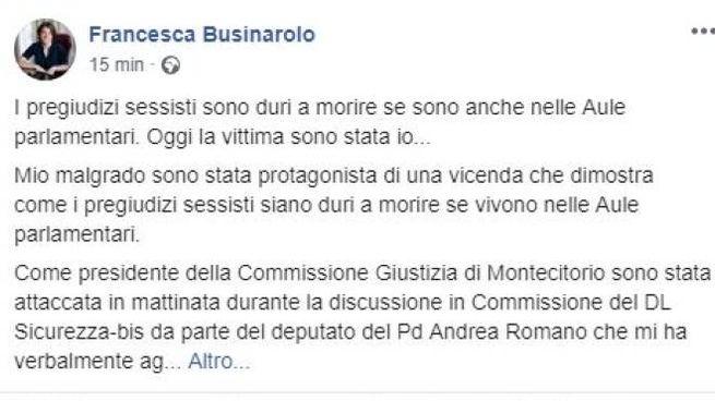 Il post di denuncia di Francesca Businarolo (Dire)