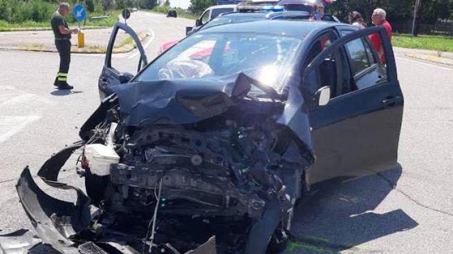 Una delle auto incidentate
