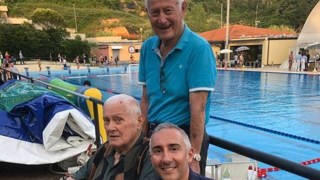 Il presidente Alessandro Sammartano con il presidente onorario Mario Perazzo e il fratello