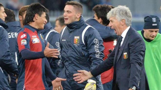 Gasperini festeggia la vittoria sul Milan (Ansa)