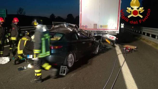 La scena dell'incidente in autostrada nei pressi di Chiusi